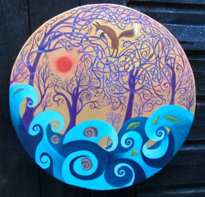 The Storm will Pass. acrylic on round canvas 42cm.  £220 P&P/collection TBA at cost