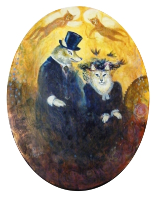 The Happy Couple. acrylic on oval canvas 30 x 40cm.  £120 P&P/collection TBA at cost