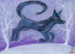 Wolf. 13x 9cm. mixed media on thick card. £12