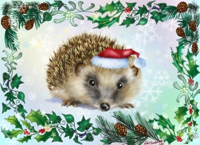 Hedgehog Yule Card. A5 with envelope & cellophane bag. £2.20 each. Postage 65p ( combined postage for multiple orders available )