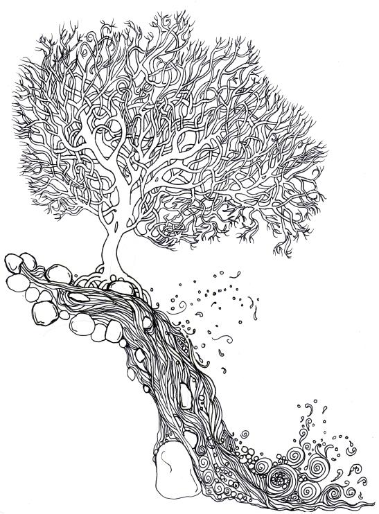 waterfall&tree
