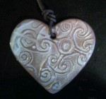 heart celtic embossed Pendant. 6cm long £4, £1.50 postage to Uk