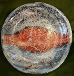 scraffito large platter. 34cm across, by 4cm high. £180,
