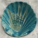 teal and glass scallop shaped dish. 10cm across, by 3cm high. £9, postage to Uk £2.85