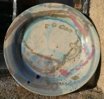 heel thrown stoneware plate. multicoloured. 24.5cm across x 3 high. £28 (PL2) postage to uk £2.85